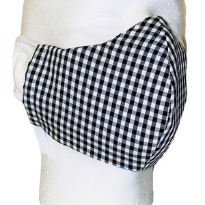 100% Cotton 3 Layers Gingham Print Adult Facemask